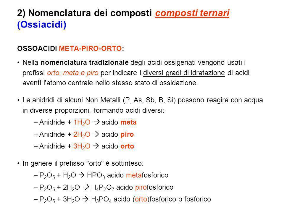 2) Nomenclatura dei composti composti ternari (Ossiacidi)