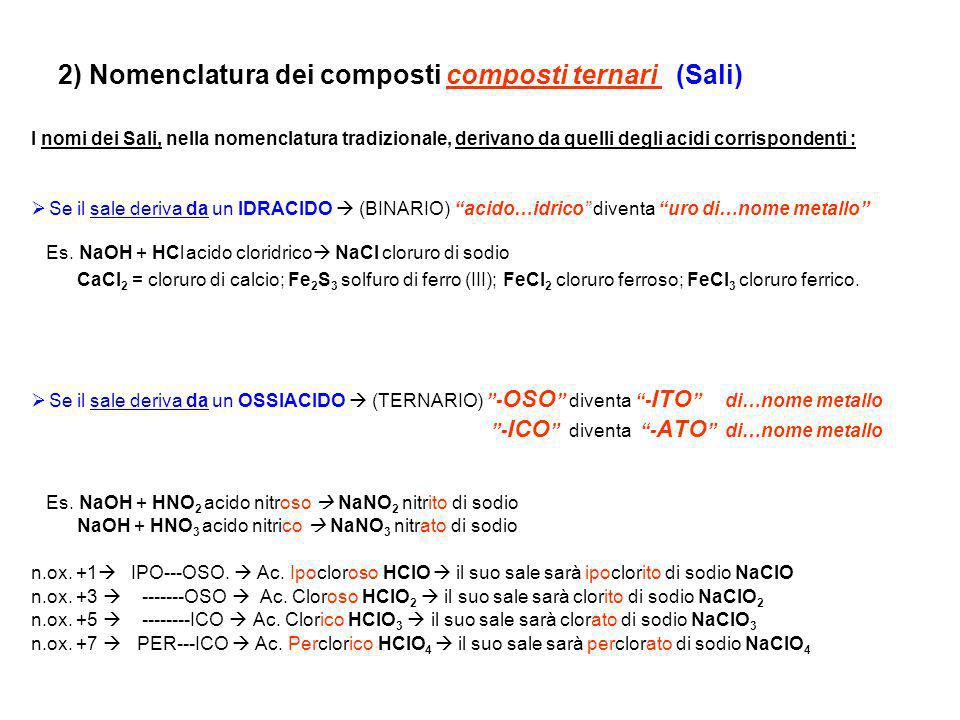 2) Nomenclatura dei composti composti ternari (Sali)