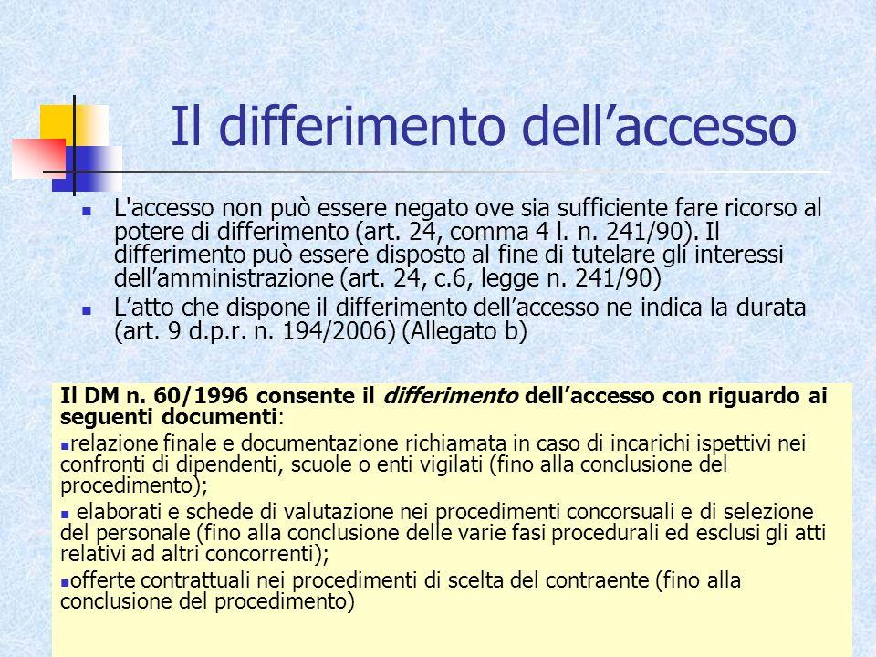 Il differimento dell'accesso
