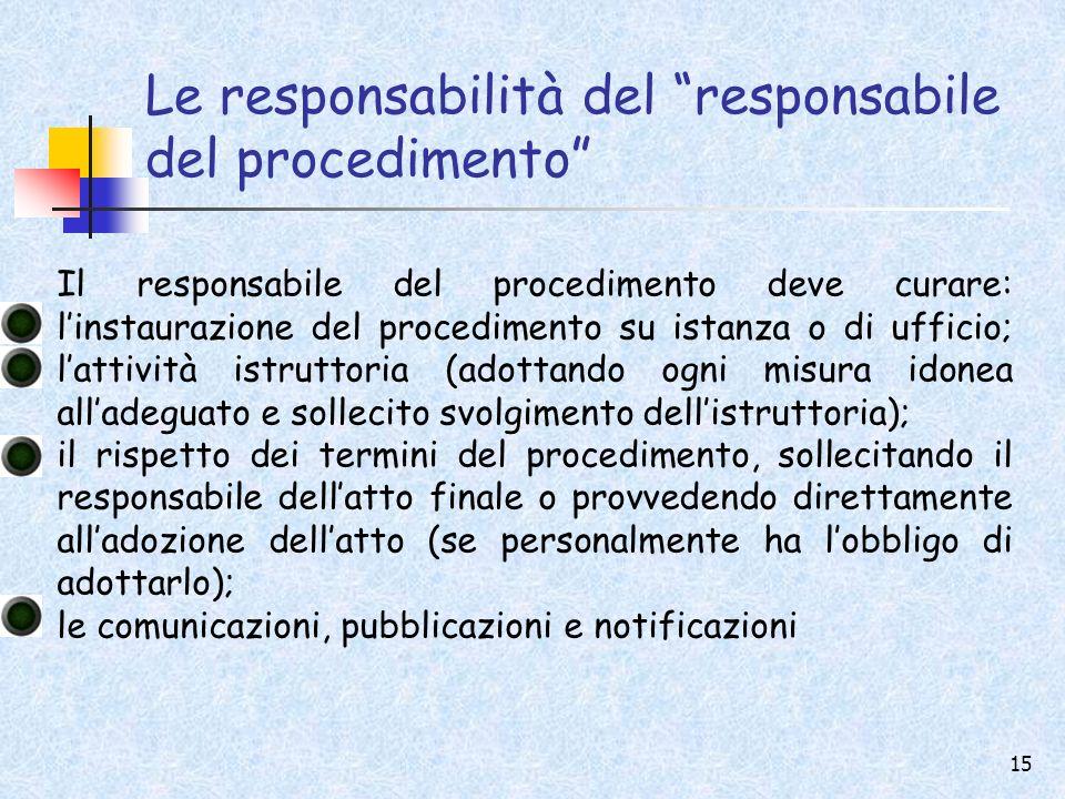 Le responsabilità del responsabile del procedimento