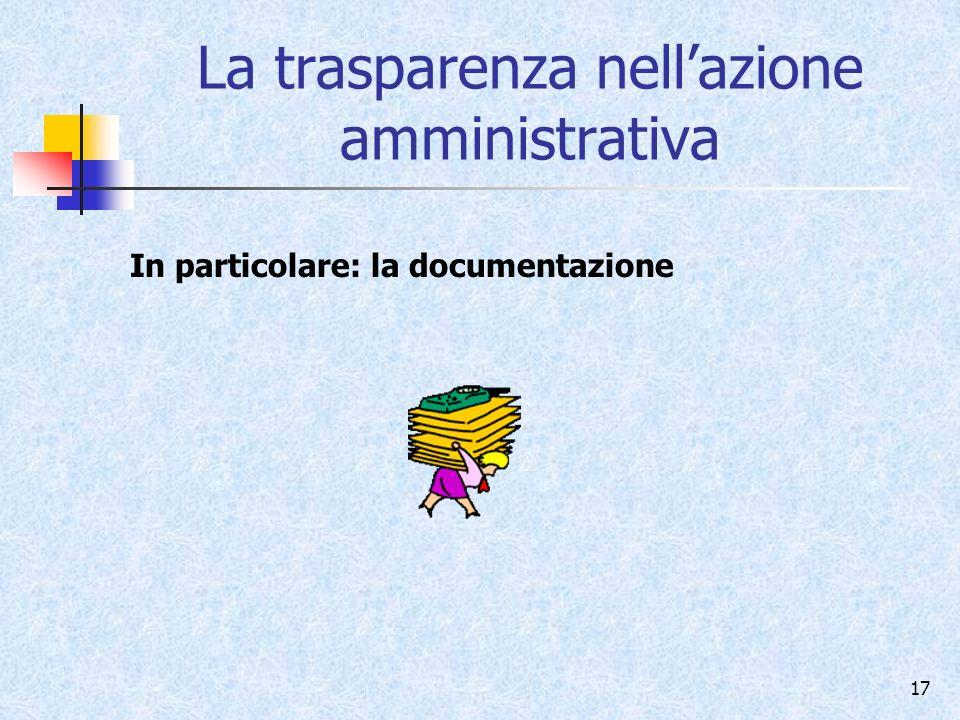 La trasparenza nell'azione amministrativa