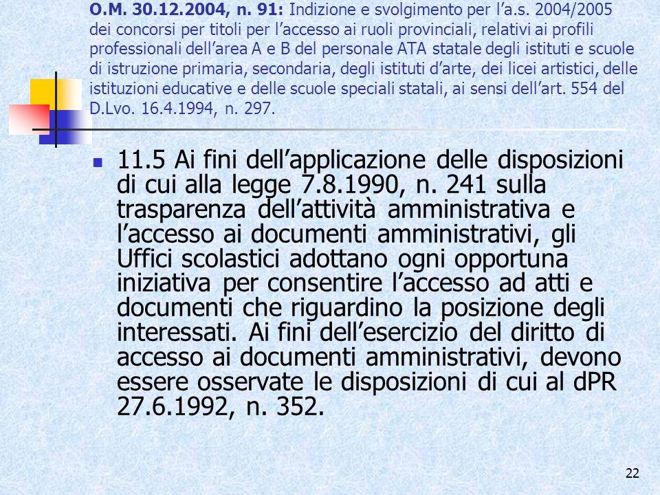O. M. 30. 12. 2004, n. 91: Indizione e svolgimento per l'a. s
