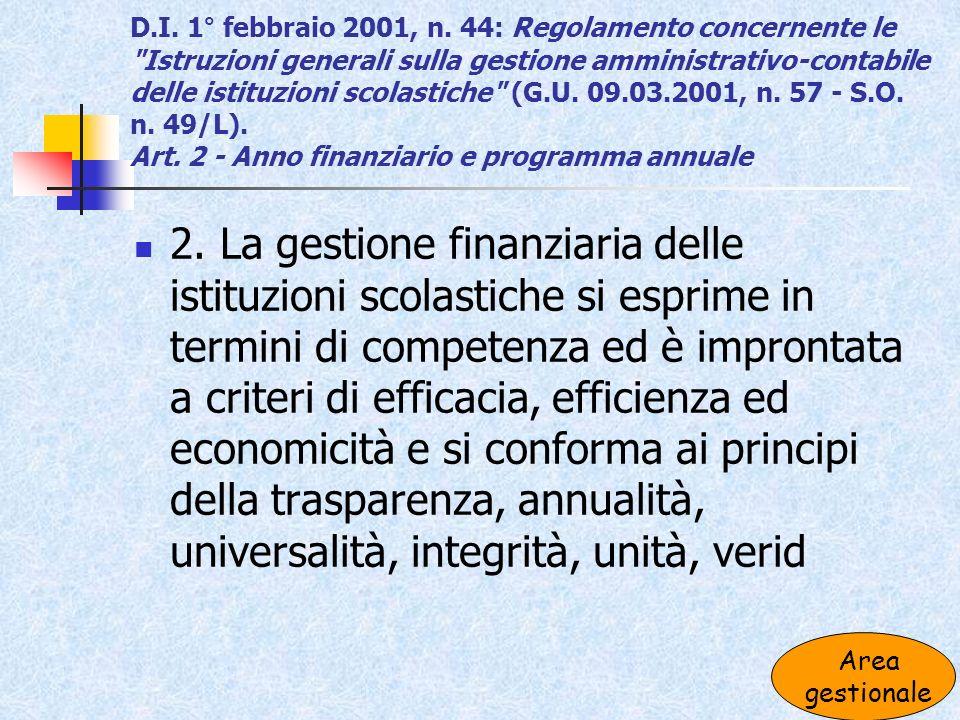 D.I. 1° febbraio 2001, n. 44: Regolamento concernente le Istruzioni generali sulla gestione amministrativo-contabile delle istituzioni scolastiche (G.U. 09.03.2001, n. 57 - S.O. n. 49/L). Art. 2 - Anno finanziario e programma annuale