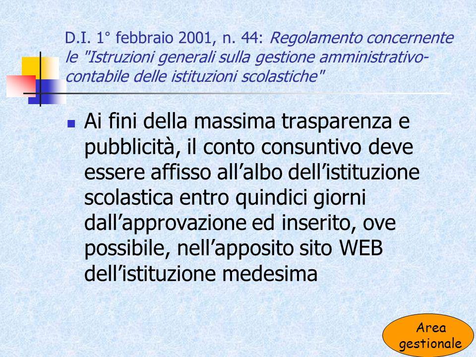 D.I. 1° febbraio 2001, n. 44: Regolamento concernente le Istruzioni generali sulla gestione amministrativo-contabile delle istituzioni scolastiche