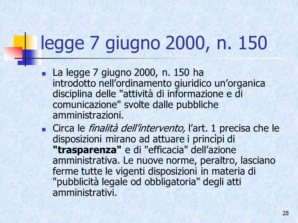 legge 7 giugno 2000, n. 150