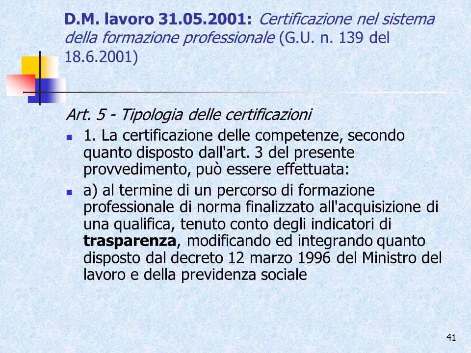 D.M. lavoro 31.05.2001: Certificazione nel sistema della formazione professionale (G.U. n. 139 del 18.6.2001)