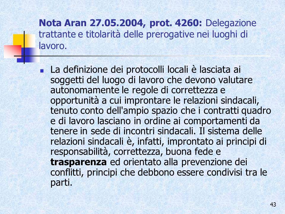 Nota Aran 27.05.2004, prot. 4260: Delegazione trattante e titolarità delle prerogative nei luoghi di lavoro.