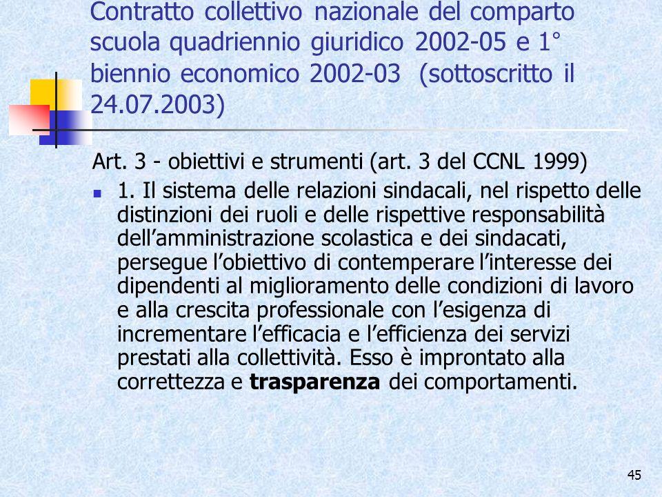 Contratto collettivo nazionale del comparto scuola quadriennio giuridico 2002-05 e 1° biennio economico 2002-03 (sottoscritto il 24.07.2003)