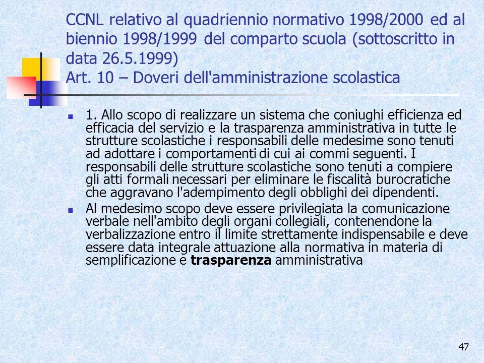 CCNL relativo al quadriennio normativo 1998/2000 ed al biennio 1998/1999 del comparto scuola (sottoscritto in data 26.5.1999) Art. 10 – Doveri dell amministrazione scolastica