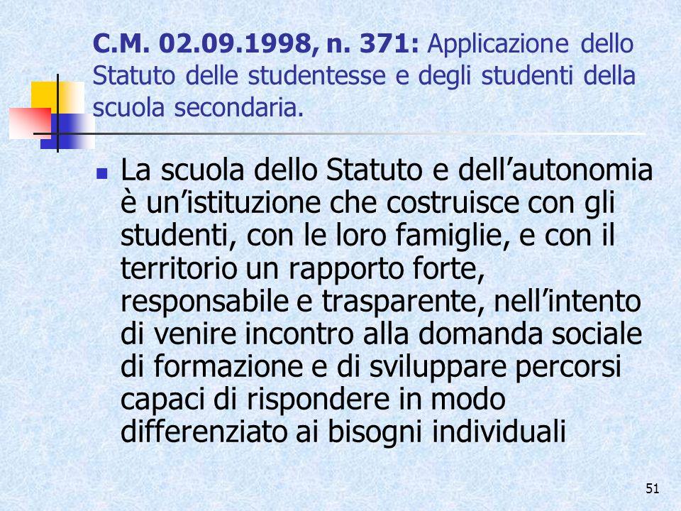 C.M. 02.09.1998, n. 371: Applicazione dello Statuto delle studentesse e degli studenti della scuola secondaria.