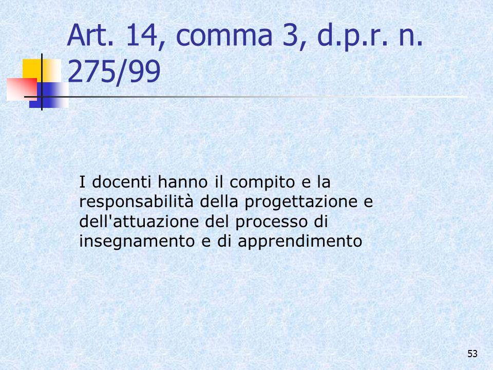 Art. 14, comma 3, d.p.r. n. 275/99
