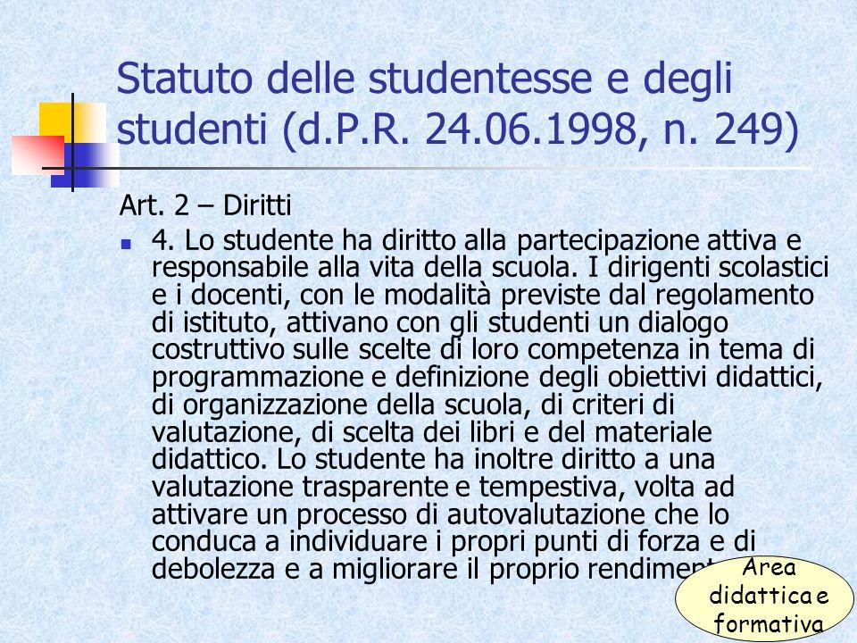 Statuto delle studentesse e degli studenti (d.P.R. 24.06.1998, n. 249)