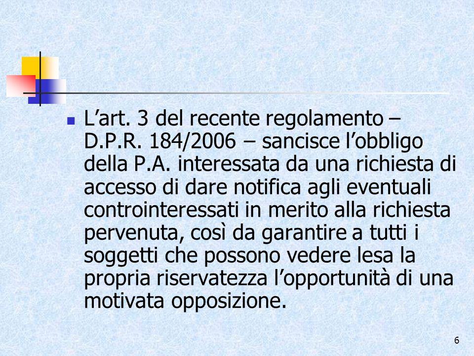 L'art. 3 del recente regolamento – D. P. R