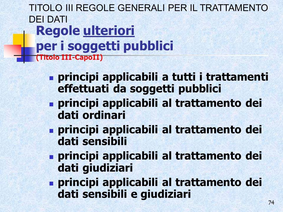 Regole ulteriori per i soggetti pubblici (Titolo III-CapoII)