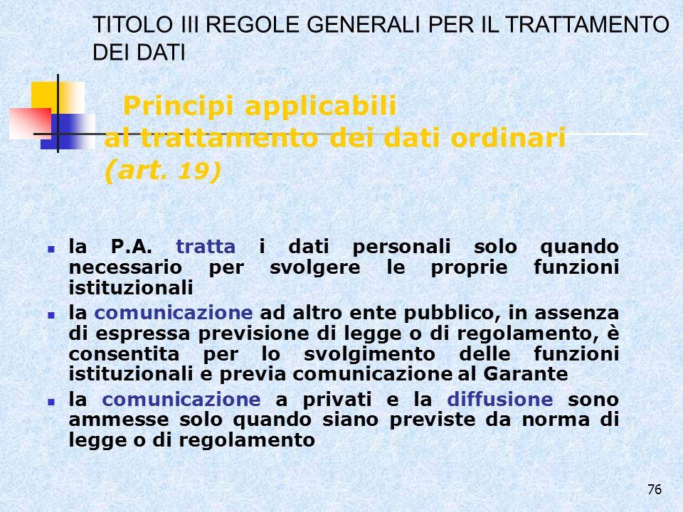 Principi applicabili al trattamento dei dati ordinari (art. 19)