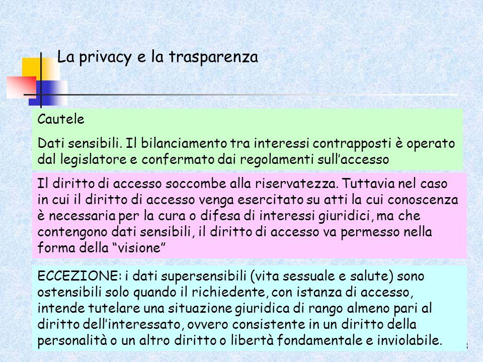 La privacy e la trasparenza