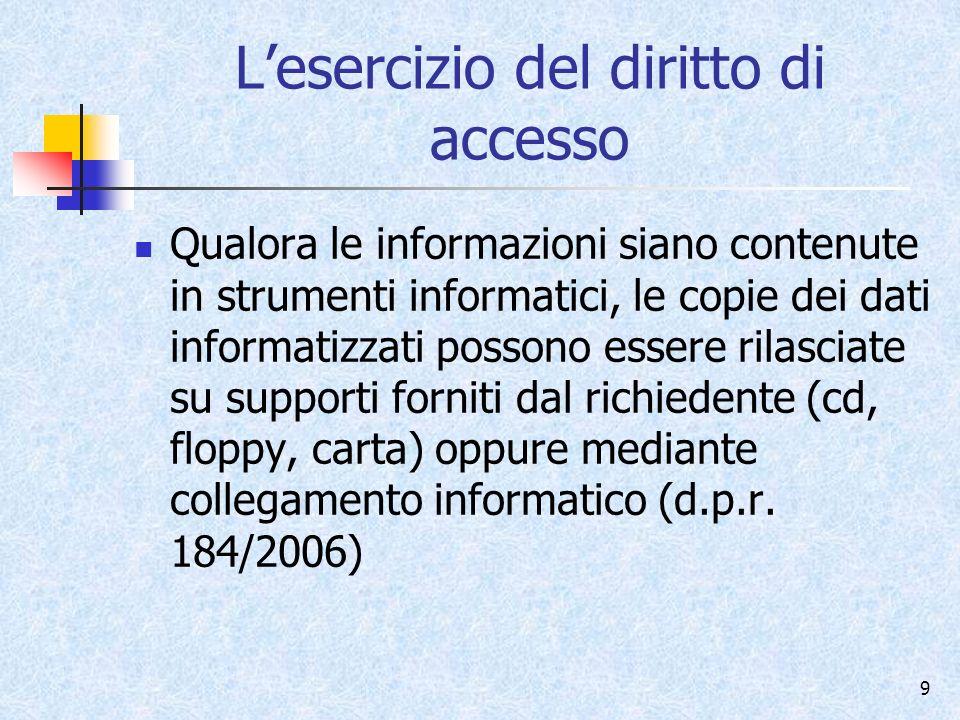 L'esercizio del diritto di accesso
