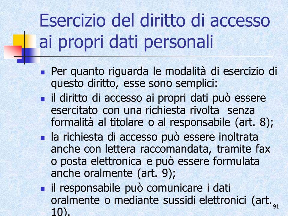 Esercizio del diritto di accesso ai propri dati personali