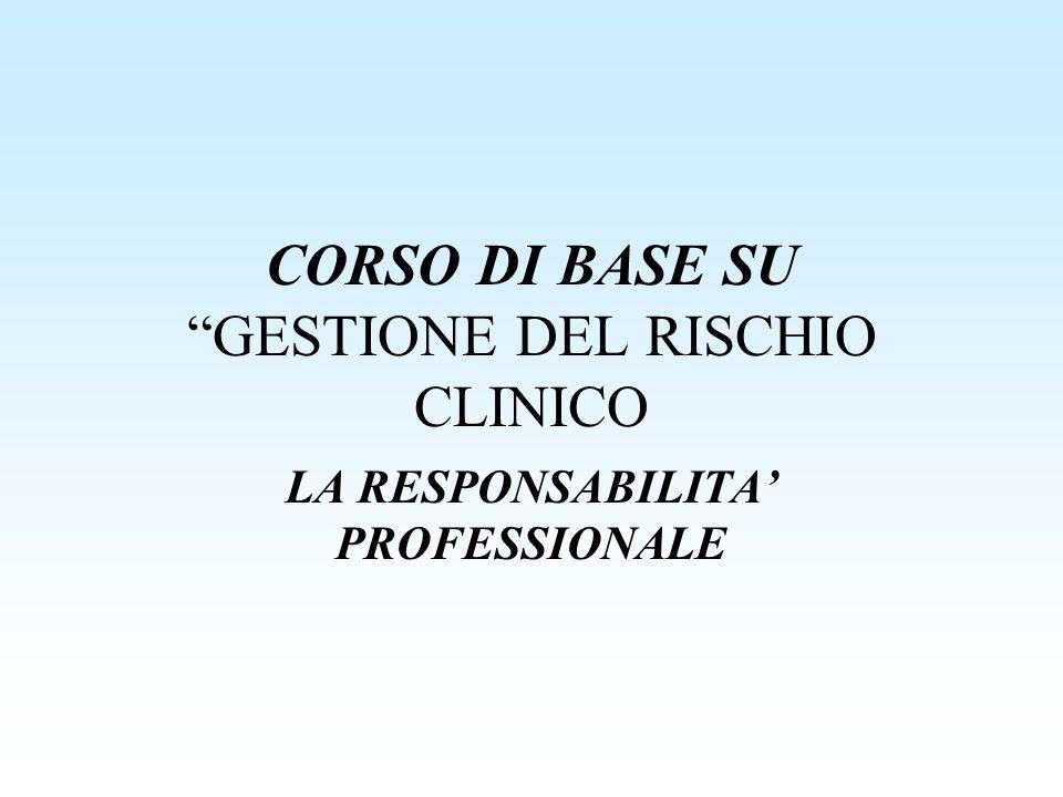 CORSO DI BASE SU GESTIONE DEL RISCHIO CLINICO