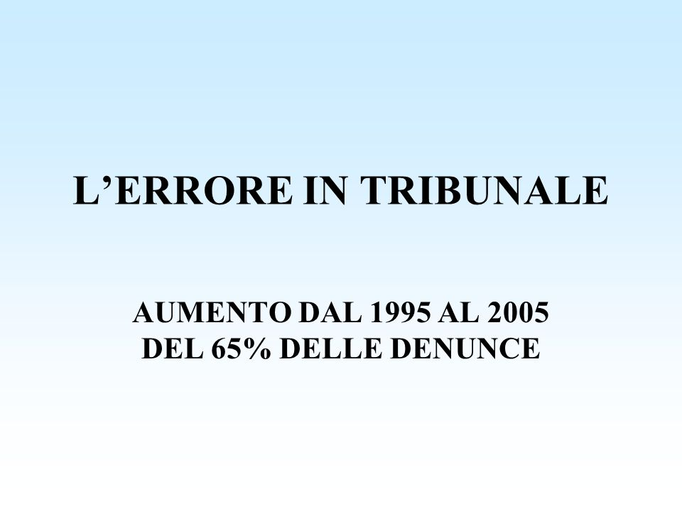AUMENTO DAL 1995 AL 2005 DEL 65% DELLE DENUNCE