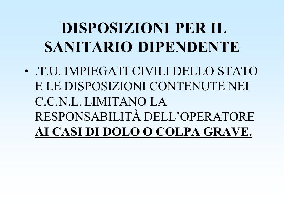 DISPOSIZIONI PER IL SANITARIO DIPENDENTE