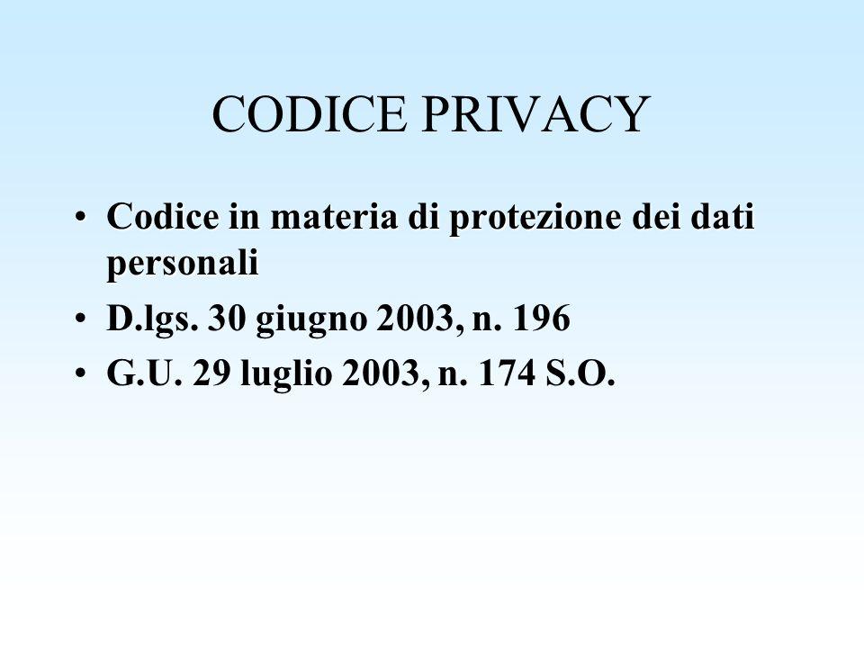 CODICE PRIVACY Codice in materia di protezione dei dati personali