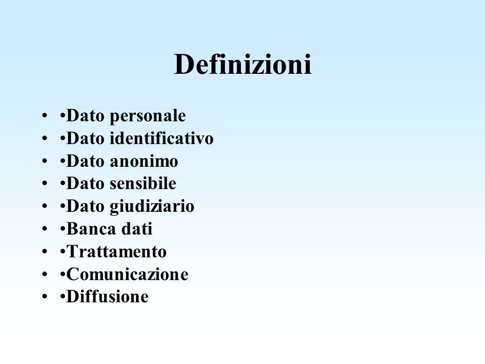 Definizioni •Dato personale •Dato identificativo •Dato anonimo