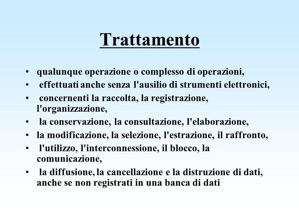 Trattamento qualunque operazione o complesso di operazioni,