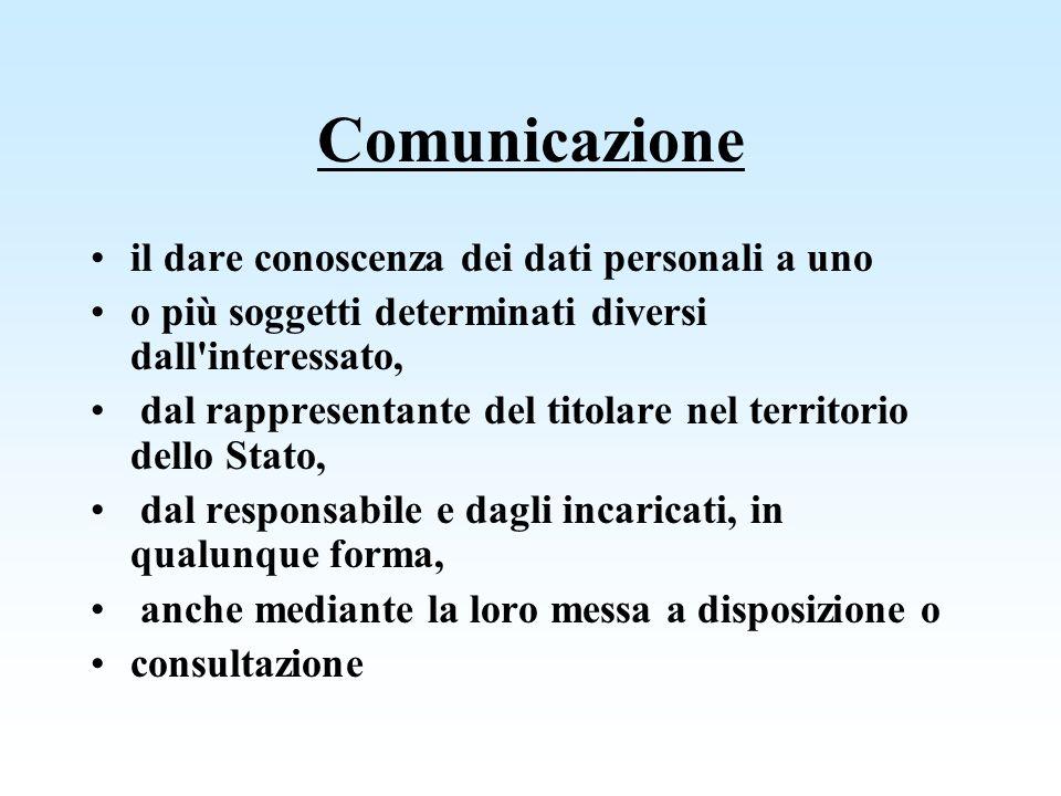 Comunicazione il dare conoscenza dei dati personali a uno