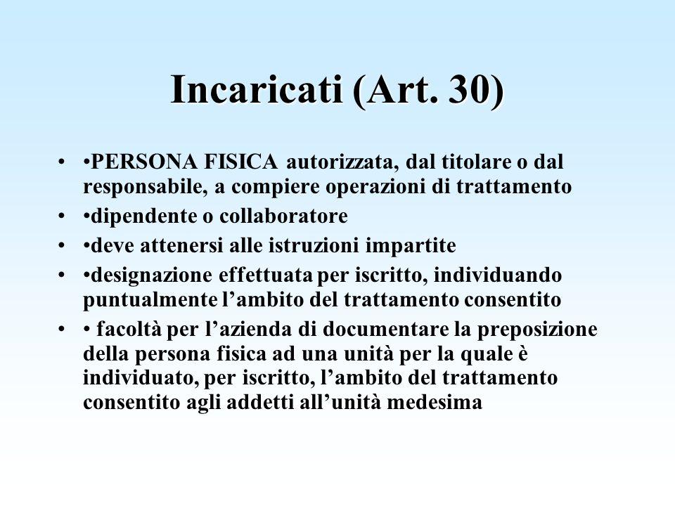 Incaricati (Art. 30) •PERSONA FISICA autorizzata, dal titolare o dal responsabile, a compiere operazioni di trattamento.