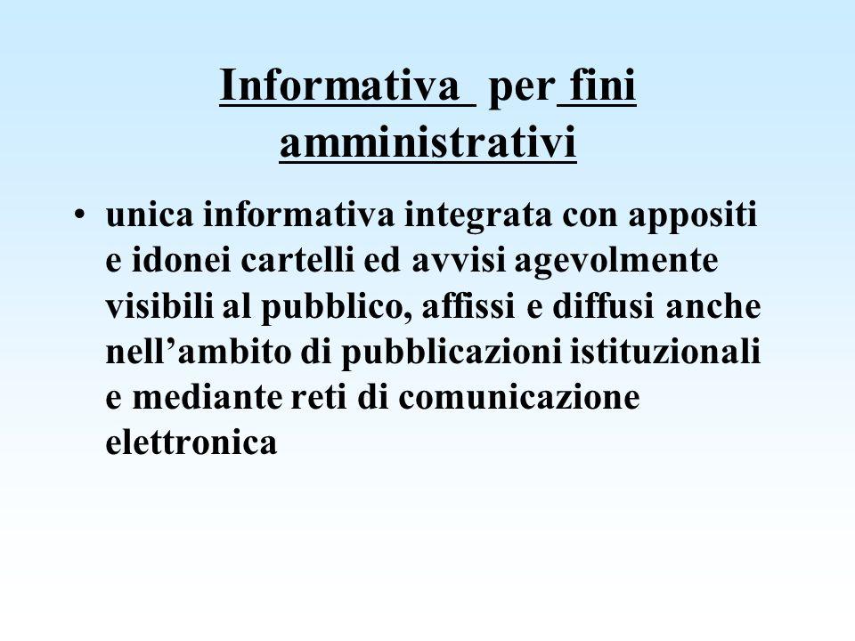 Informativa per fini amministrativi
