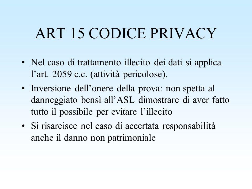 ART 15 CODICE PRIVACY Nel caso di trattamento illecito dei dati si applica l'art. 2059 c.c. (attività pericolose).