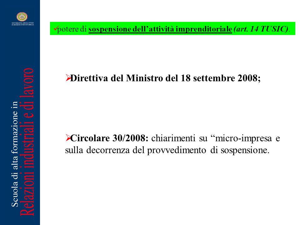 Direttiva del Ministro del 18 settembre 2008;