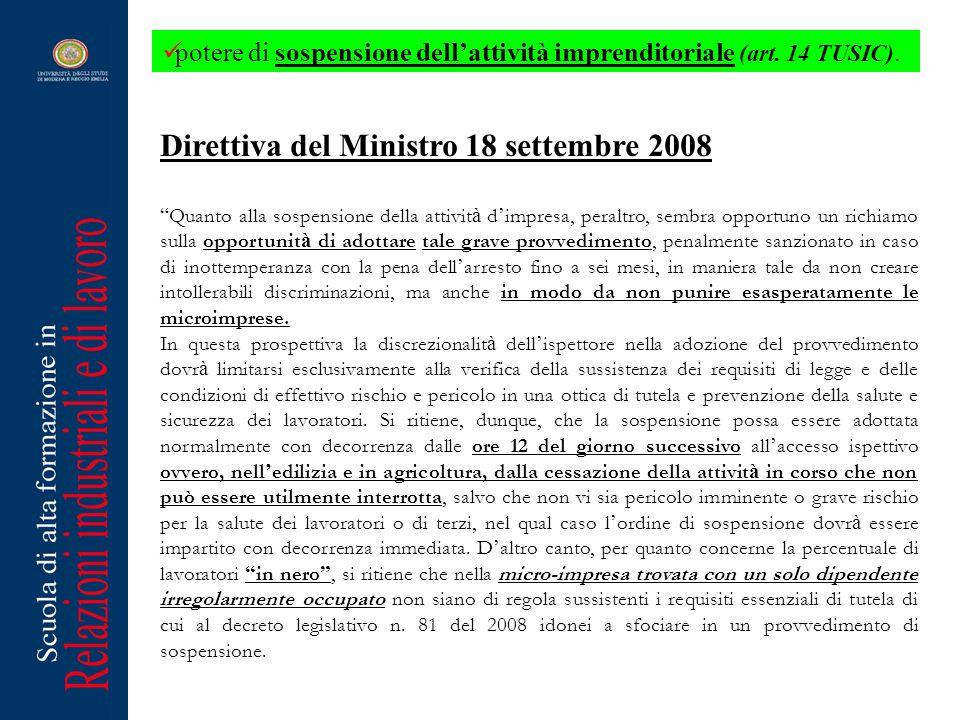 Direttiva del Ministro 18 settembre 2008