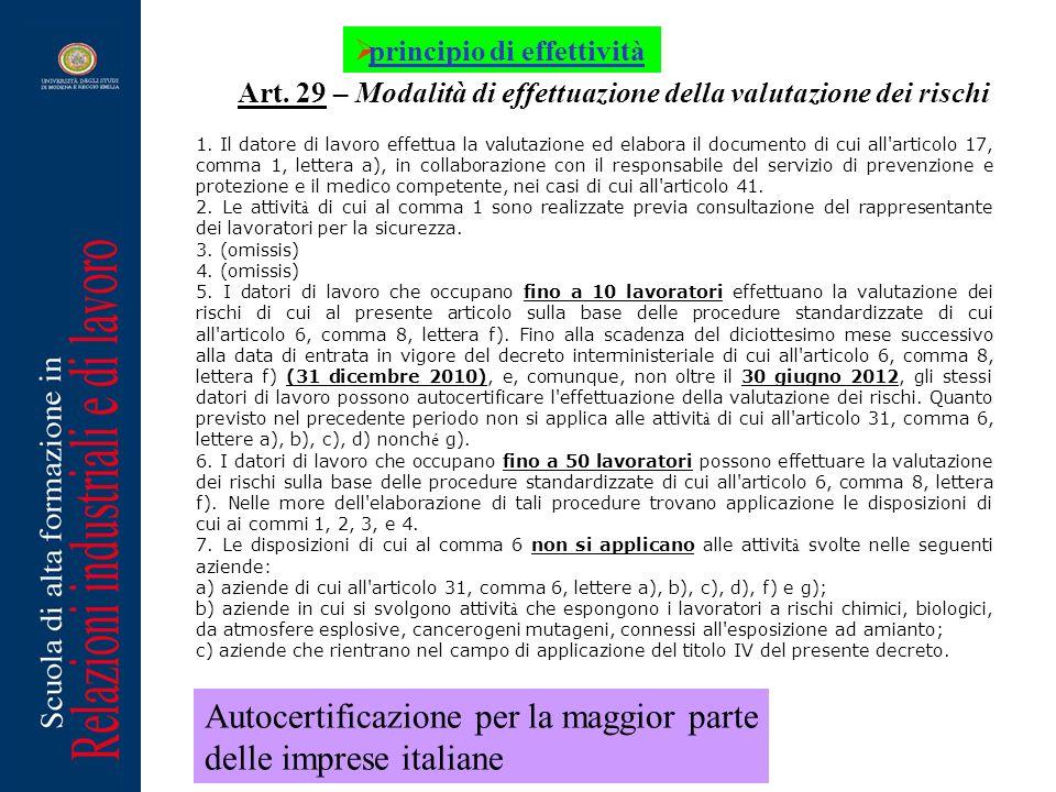 Autocertificazione per la maggior parte delle imprese italiane