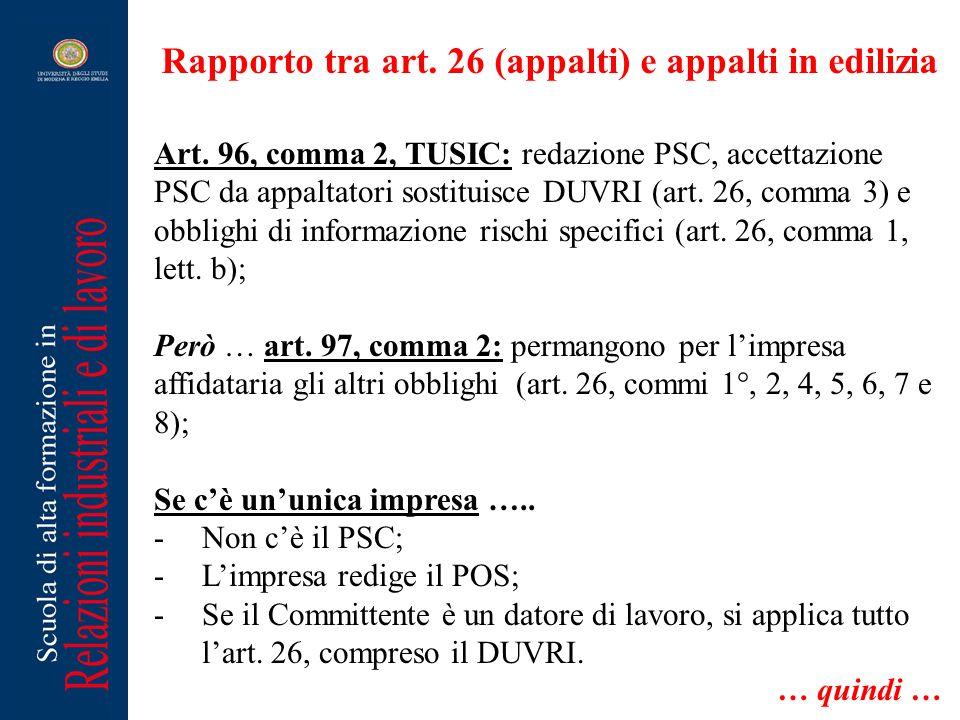 Rapporto tra art. 26 (appalti) e appalti in edilizia