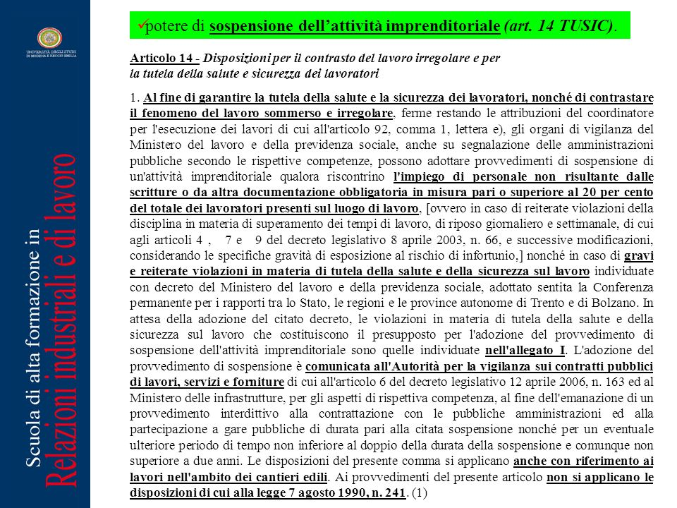 potere di sospensione dell'attività imprenditoriale (art. 14 TUSIC).