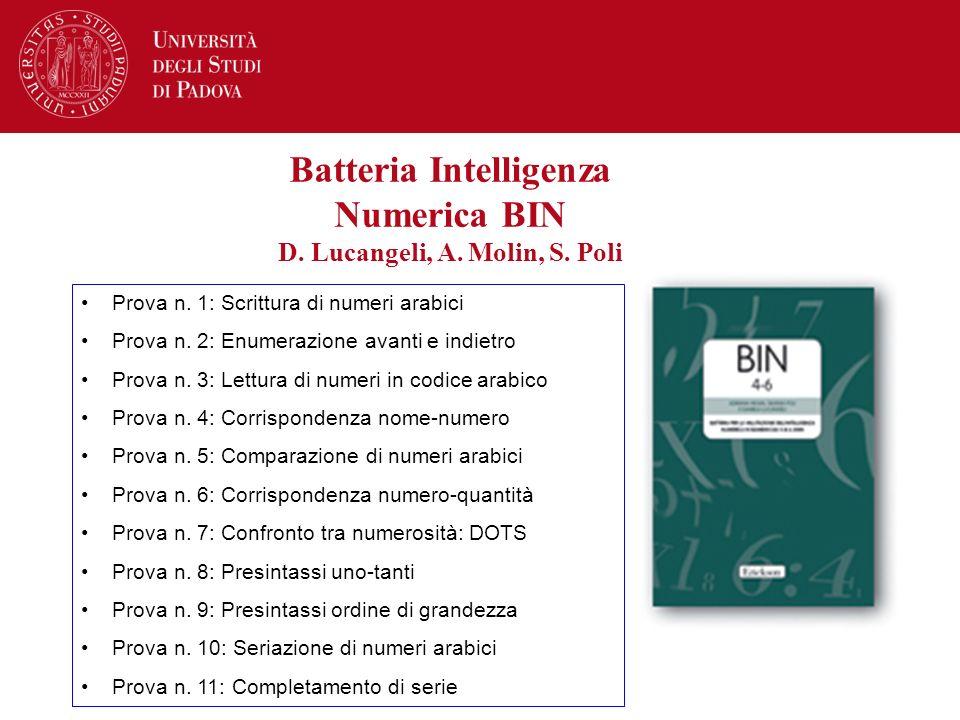 Batteria Intelligenza Numerica BIN D. Lucangeli, A. Molin, S. Poli