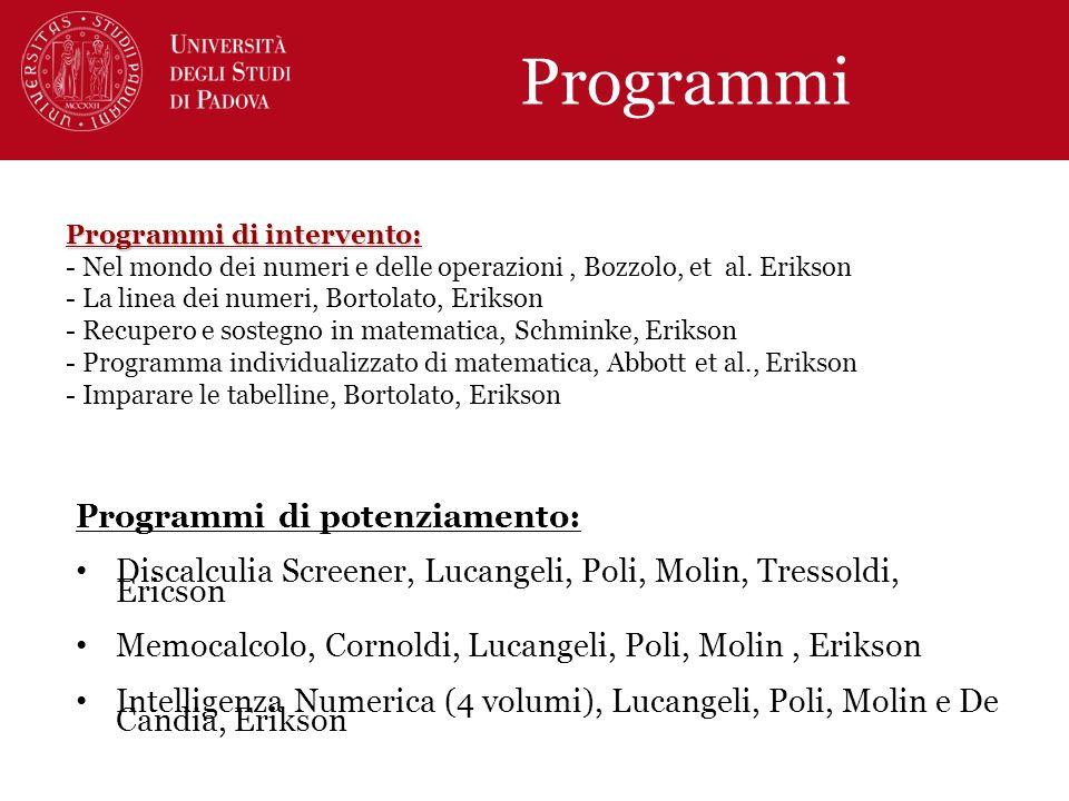 Programmi Programmi di potenziamento: