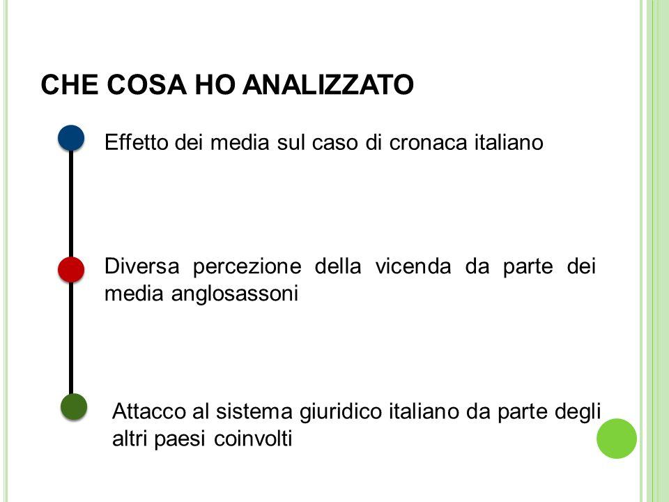 CHE COSA HO ANALIZZATO Effetto dei media sul caso di cronaca italiano