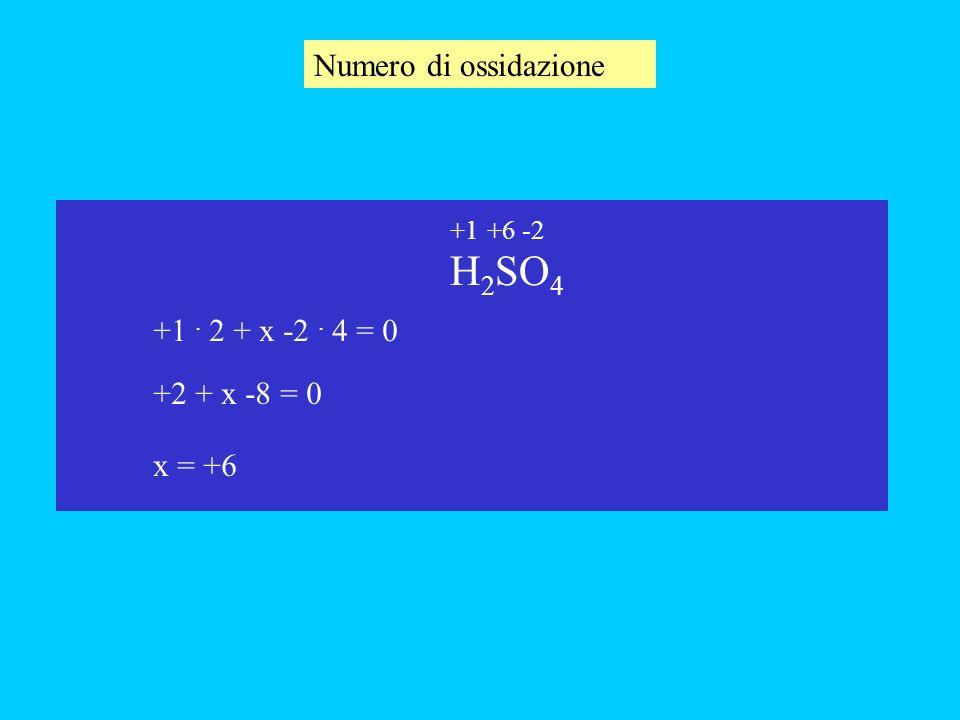 Numero di ossidazione H2SO4 +1 . 2 + x -2 . 4 = 0 +2 + x -8 = 0 x = +6