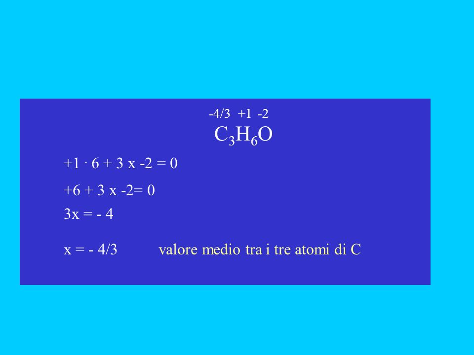 x = - 4/3 valore medio tra i tre atomi di C