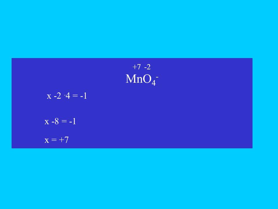 MnO4- x +7 -2 x -2 .4 = -1 x -8 = -1 x = +7
