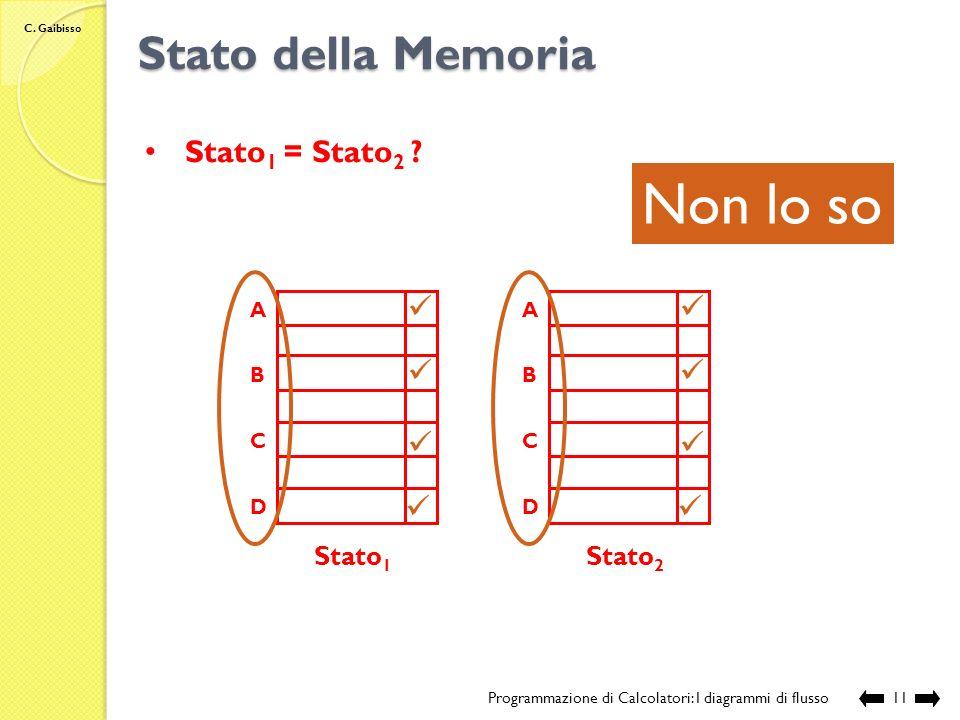 Non lo so Stato della Memoria Stato1 = Stato2 Stato1 Stato2 A B C D