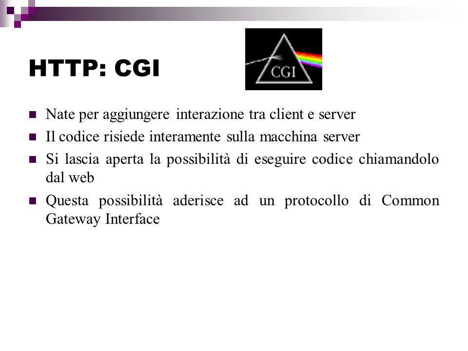 HTTP: CGI Nate per aggiungere interazione tra client e server