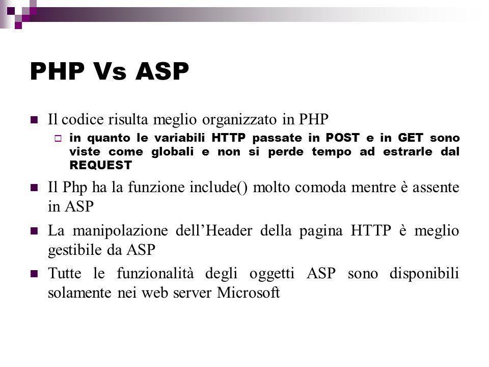 PHP Vs ASP Il codice risulta meglio organizzato in PHP