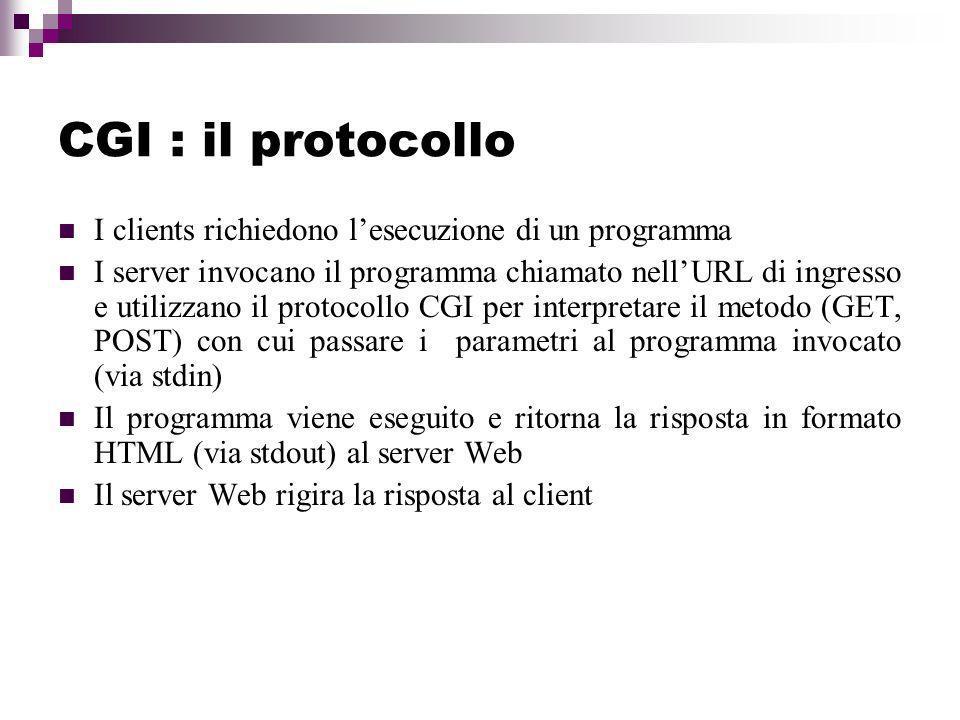 CGI : il protocollo I clients richiedono l'esecuzione di un programma