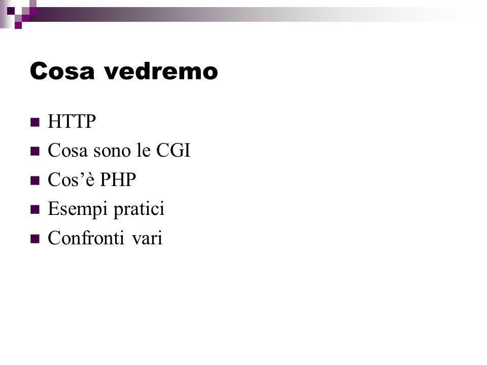 Cosa vedremo HTTP Cosa sono le CGI Cos'è PHP Esempi pratici