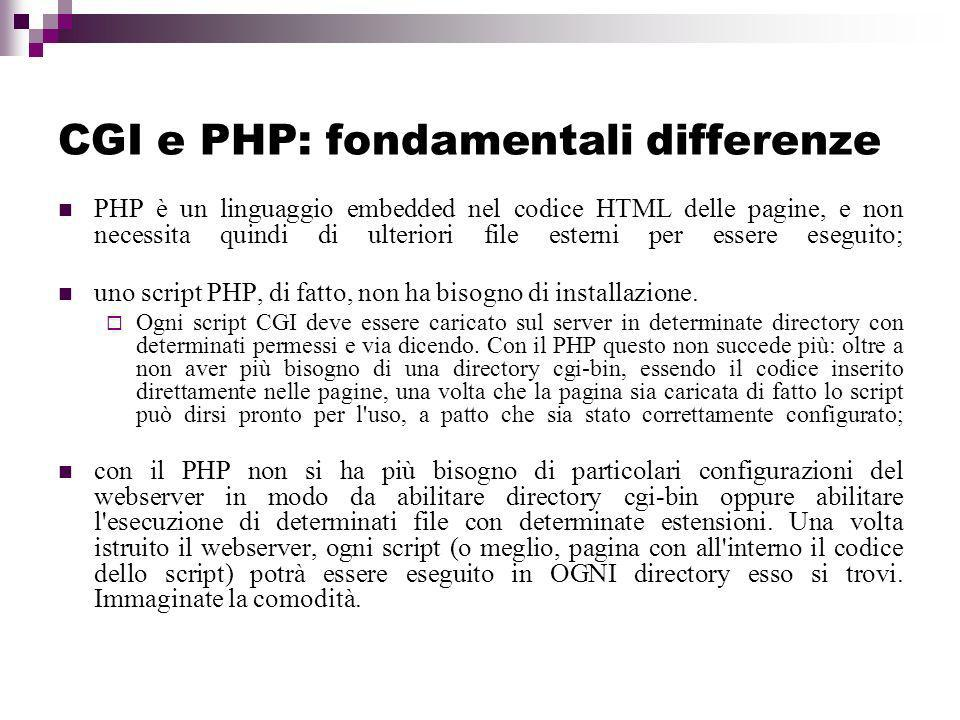 CGI e PHP: fondamentali differenze