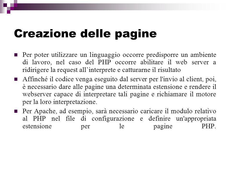 Creazione delle pagine
